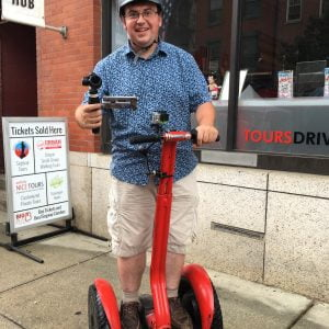 James on a Segwayin with a DJI Osmo in Philadelphia for James Martin's American Adventure